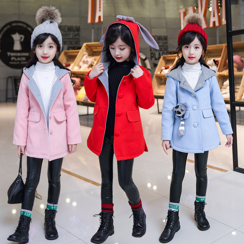 Cute Girl Autumn Winter Hooded Coat Cloak Jacke Fashion Rabbit Ear Jacket Thick Warm Wool Clothes Children Cartoon Wool & Blends aile rabbit 2017 ins popular autumn winter children hat rabbit ear style warm plus cashmere woolen fashion cute baby wild 0 3t