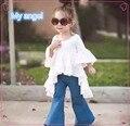 2016 venta caliente bebé de la manera muchachas jeans Bengalas pantalones de arranque corte jean pantalones largos para niños girl2-6years viejo chidlrend jean ropa