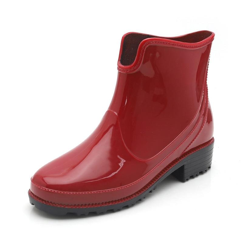 Chaussures Rond Noir Cheville Femmes En Slip on Caoutchouc Solide Rainboots Imperméables Non bleu De Bout slip Faible Pluie rouge Bottes p5q5wz