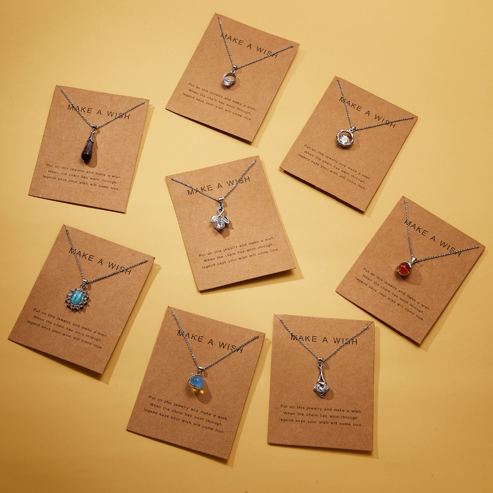 Rinhoo 7.5*10cm Make a Wish Paper dolphin/Water Drop Natural Stone Pendant Necklace For Women Accessories Gift