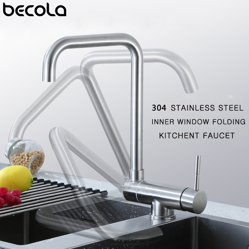BECOLA Stainless Steel Kitchen Faucet Lead-free Folding Mixer 360 Degree Swivel Single Handle Nickel Kitchen Sink Taps
