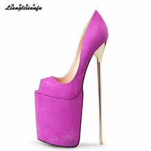 LLXF Spring platform zapatos Plus:46 47 48 Stiletto Ladies Peep Toe Suede dress Shoes women 22cm thin High-Heeled female Pumps
