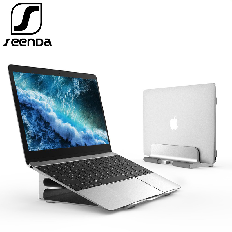 "SeenDa Aluminum Vertical Laptop Stand for MacBook Pro Air 11-13"" Adjustable Portable Laptop Mount for Tablet Chromebook Thinkpad"