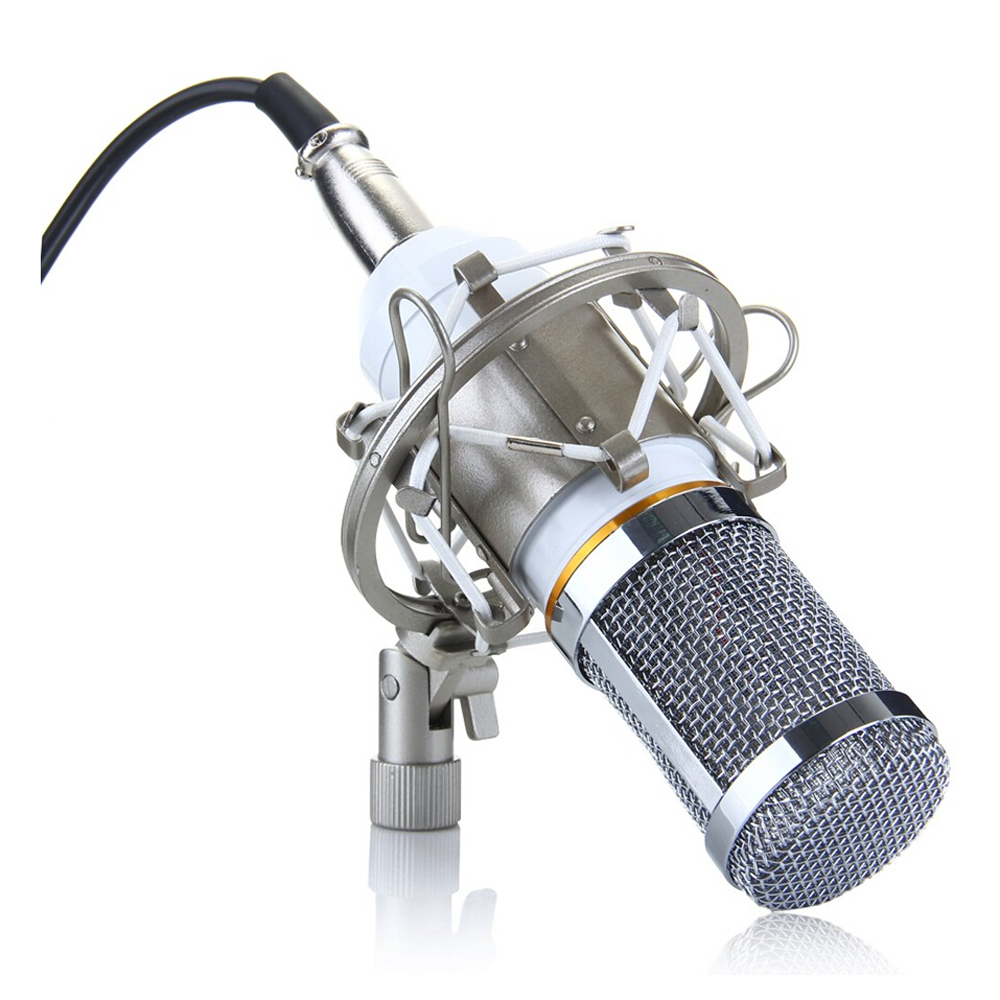 Wholesale5pcs*Condenser Microphone Professional Audio Studio Recording Microphone with Shock Mount White BM-800 купить