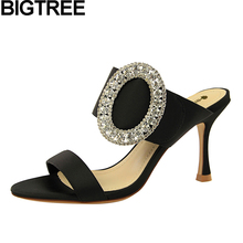 BIGTREE/женские летние босоножки; туфли-лодочки с открытым носком; туфли на высоком каблуке с металлическими украшениями и стразами; туфли без задника на шпильке; женская обувь