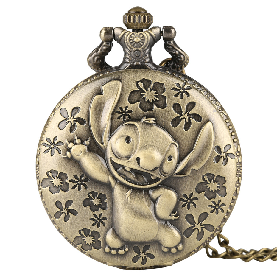 Bronze Color Cute Stitch Design Quartz Pocket Watches Pendant Fashion Watch For Kids Creative Watches Clock Boys Girls Gifts New