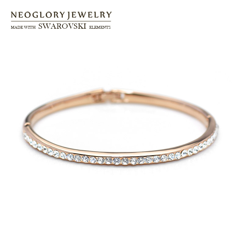 Neoglory Austria Rhinestone Bangle Rose Gold Color Classic Round Beads Shining Bracelet For Women Trendy Daily Party Gift