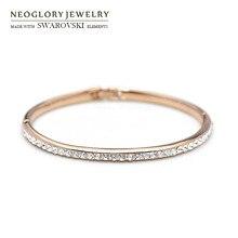 Neoglory, австрийские стразы, браслет, розовое золото, Классический Круглый бисер, блестящий браслет для женщин, модный, на каждый день, вечерние, подарок