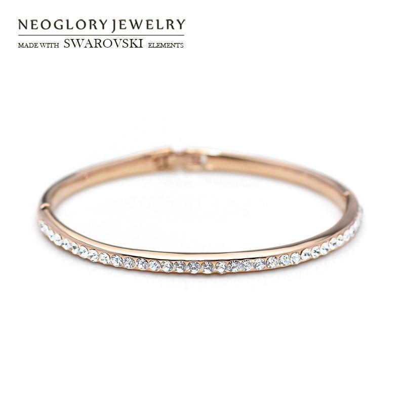 Neoglory Österrike Rhinestone Bangle Rose Gold Color Klassiska runda pärlor Glänsande armband för kvinnor Trendig daglig festgåva