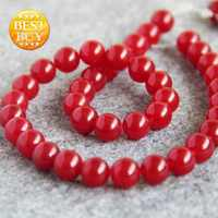 Accessory Crafts For Necklace 10mm Red Chalcedony Round Semi Finished Stone Loose DIY Beads 15inch Jewelry Making Fitting Female