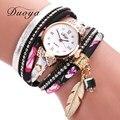 Duoya Fashion Brand 2017 New Arrive Clock Quartz Watch Women Dress Leather Wristwatches Casual Leaf Pendant Bracelet Watches