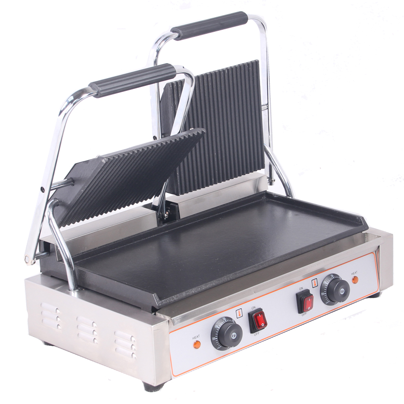 Double Plates mercial Sandwich Press Contact Grill Griddle