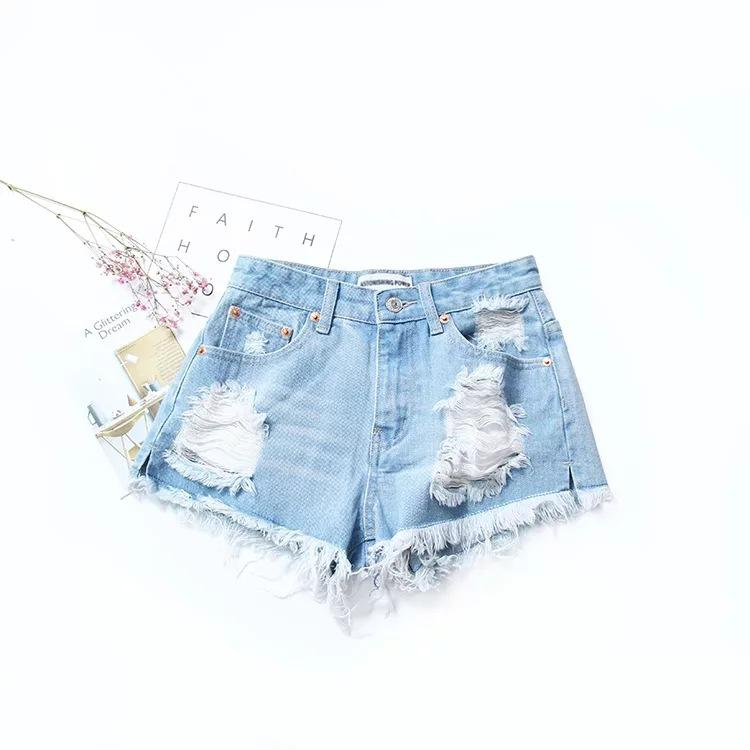 c0dd355f89d8d1 Summer Sexy Ass Hole Denim Shorts Women European Style High Waisted Hot  Jeans Shorts Black Torn For Vacation Short En Jean Femme-in Shorts from  Women's ...