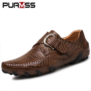 2018 Brand Men Loafers Men Casual Shoes Genuine Male Leather Driving Shoes Crocodile Texture Men's Flats Shoes Plus Size 38-46