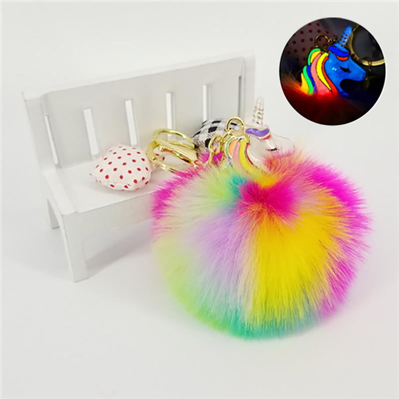 Unicorn Key Chains Pokemon Keyring Glowing At Night Fluffy Balls Jewelry Pendants For Bags Decoration Car Key Phone Accessories