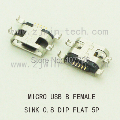10PCS Micro USB Connector Phone Tail Charging Socket B Type Female Jack 5Pin PCB Board Sink 0.8 DIP Flat Mouth