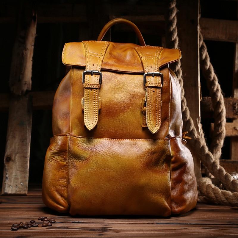 Genuine Leather Backpack Women Men's School backpacks Vintage Cowhide Travelling Laptop Rucksack Bag for Teenagers day pack south park backpack laptop bag school bag travelling shoulder bag colors pick 45x32x13cm