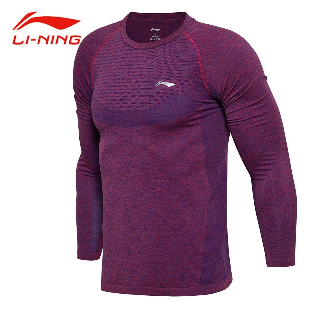 Li-ning Hommes Cool Respirant Badminton T-Shirt O-cou À Manches Longues En Jacquard Hauts DOUBLURE À SEC Confort Formation T-Shirt de Sport ATLM111
