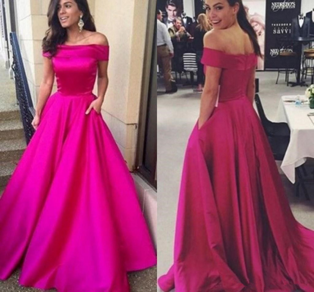 AED102 Cheap Long Satin Evening Dress with Boat Neck Women A line Fashion Celebrity Pageant Party Gowns Cheap