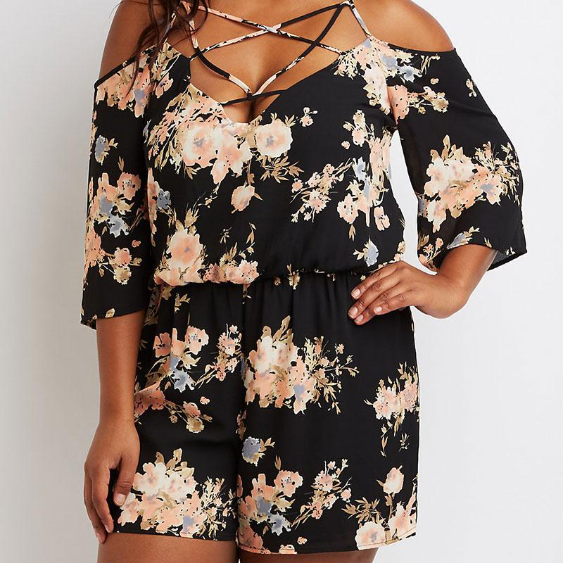 2017 new women plus size 5xl romper summer chic floral print criss cross v neck jumpsuit