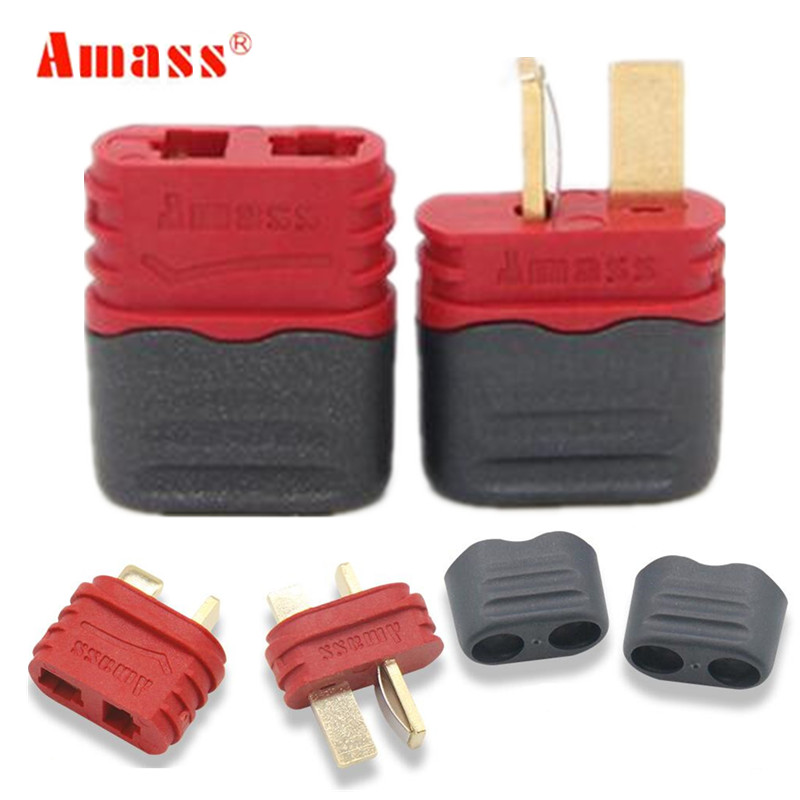 3pair/lot High Quality New Type Amass High Current T Plug Connector 40A Sheathed For Multi-axis Fixed-wing Model Aircraft 20%Off