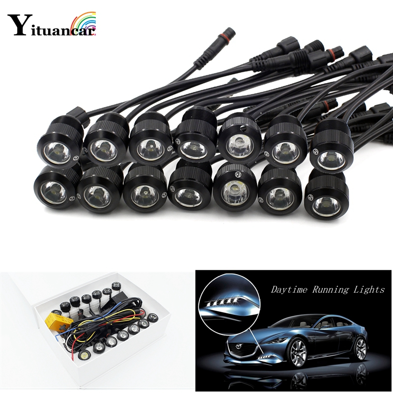 Yituancar Multifunction 14Pcs/Set LED Car Styling Eagle Eye Daytime Running Fog Light White Or Yellow Trun Signal Steering Lamps