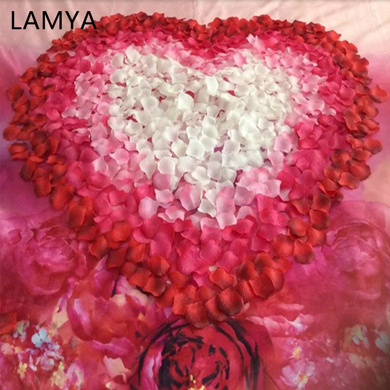 LAMYA 19-32 Colors 500pcs / lot 5*5cm Silk Artificial Rose Flower Petals Wedding petal for Wedding Decoration Romantic 38 Colors