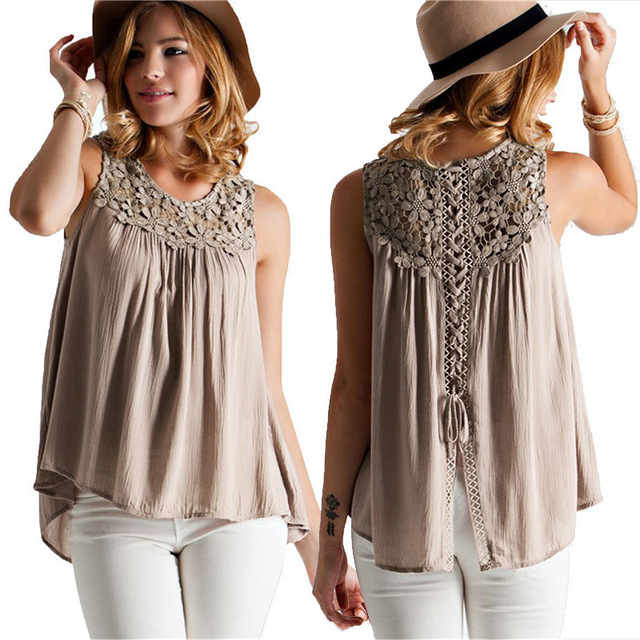 f23a86d9880 Plus Size 5XL Blouse Women Summer Casual Sleeveless Lace Patchwork Shirts  Top Female Sexy Crochet Hollow