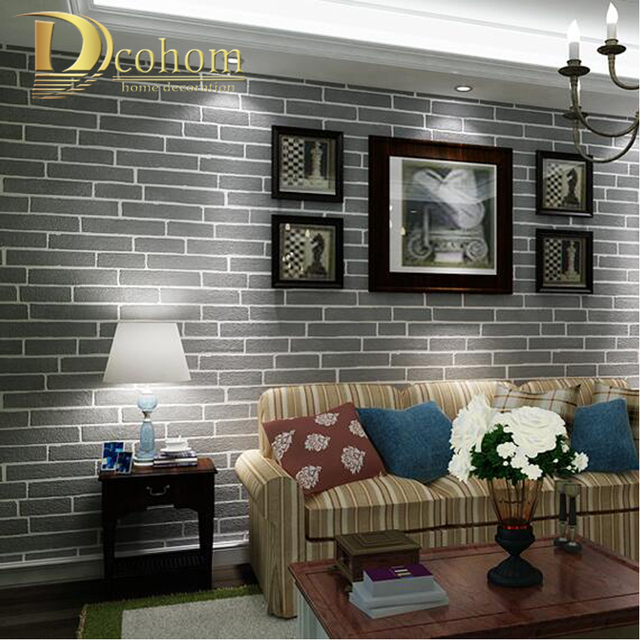 Buy modern brown grey white black brick for Grey brick wallpaper living room