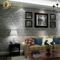 Modern Brown Grey White Black Brick Wallpaper For Walls 3 D For Bedroom Living Room Flocked