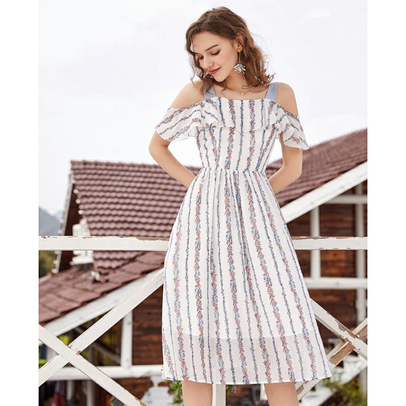 ARTKA 2019 Summer New Women Dress Slim Waist Big Swing Off the Shoulder Bow Design Romantic Female Striped Dress LA11689X-in Dresses from Women's Clothing    1