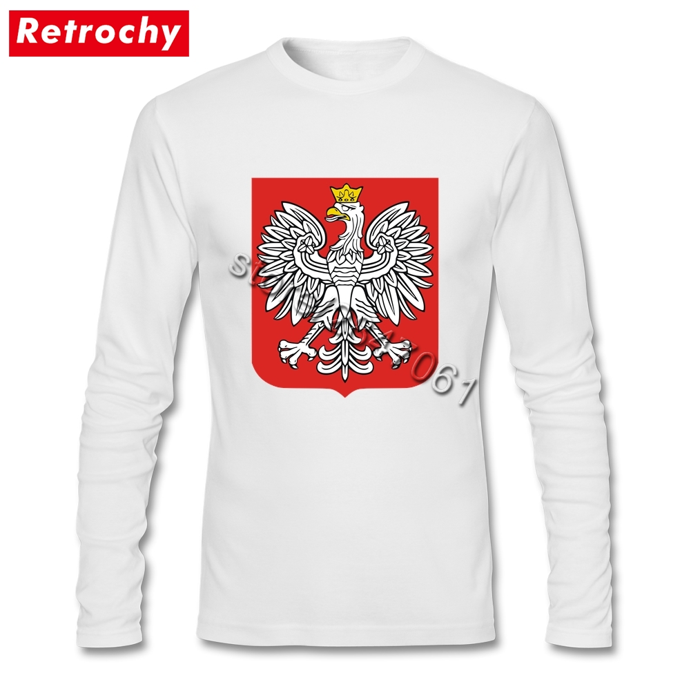 Retro Style Fashion Poland Coat Of Arms T Shirts Homme Luxury Brand Long Sleeved Family Tees Shirts Dropship