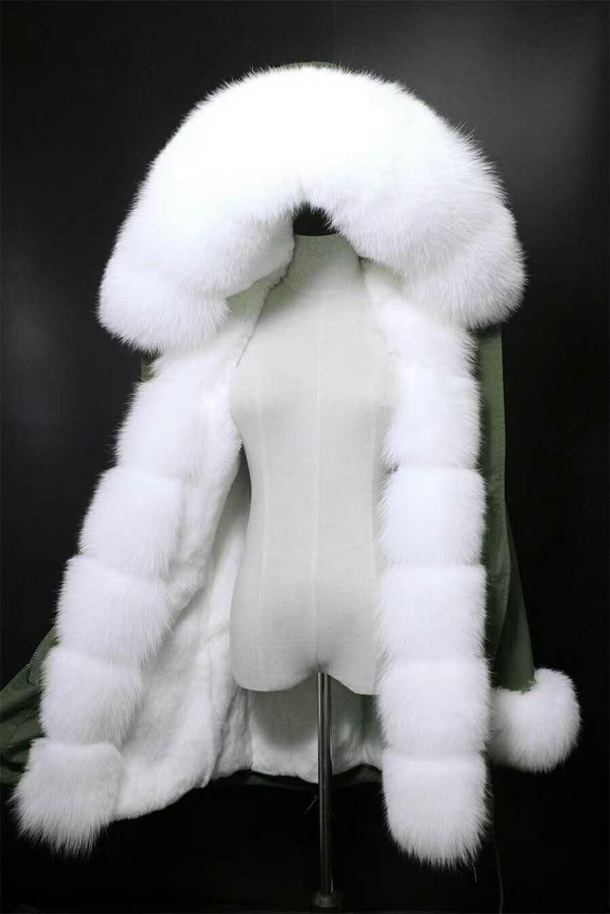 2017 winter new women's fashion  fox fur collar white rex rabbit  lining coat nick garment hoodies jacket 2017 winter new clothes to overcome the coat of women in the long reed rabbit hair fur fur coat fox raccoon fur collar