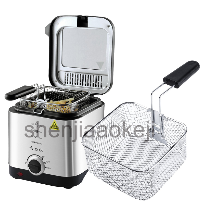 Mini deep fat fryer  Electric fryer smart home fryer large capacity oil-free French fries machine 220V 900W 1.5L 1pc home healthy non stick electric deep fryer smokeless electric air fryer french fries machine for home using af 100 1pc