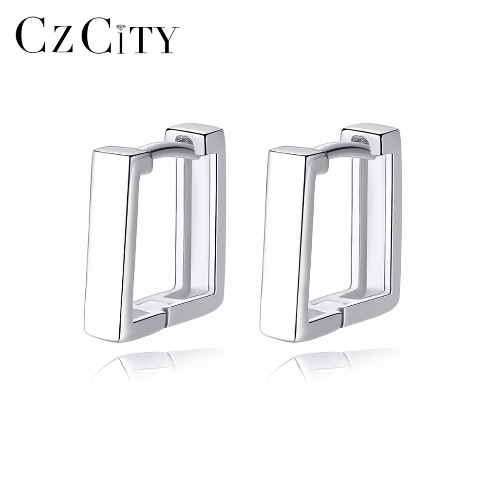 CZCITY Brand Classic Real 925 Sterling Silver on Earrings Square Shape Hoop Fine Women Earrings Factory Wholesale Gift