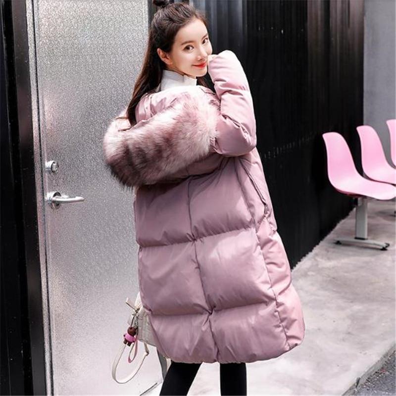 Grand Grande Black Taille Coton Femelle Manteau Nouveau Chaud Veste Femmes Haute Vestes K0807 Fourrure De Col pink Qualité Parkas Hiver Lâche gray Épaissir qqwxORg8