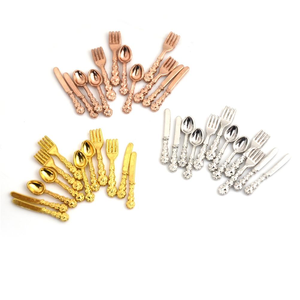 12PCS/set(4PCS Fork+4PCS Knife+4PCS Soup Spoon) Tableware For 1:12 Dollhouse Miniature Accessories Kitchen Food Furniture Toys