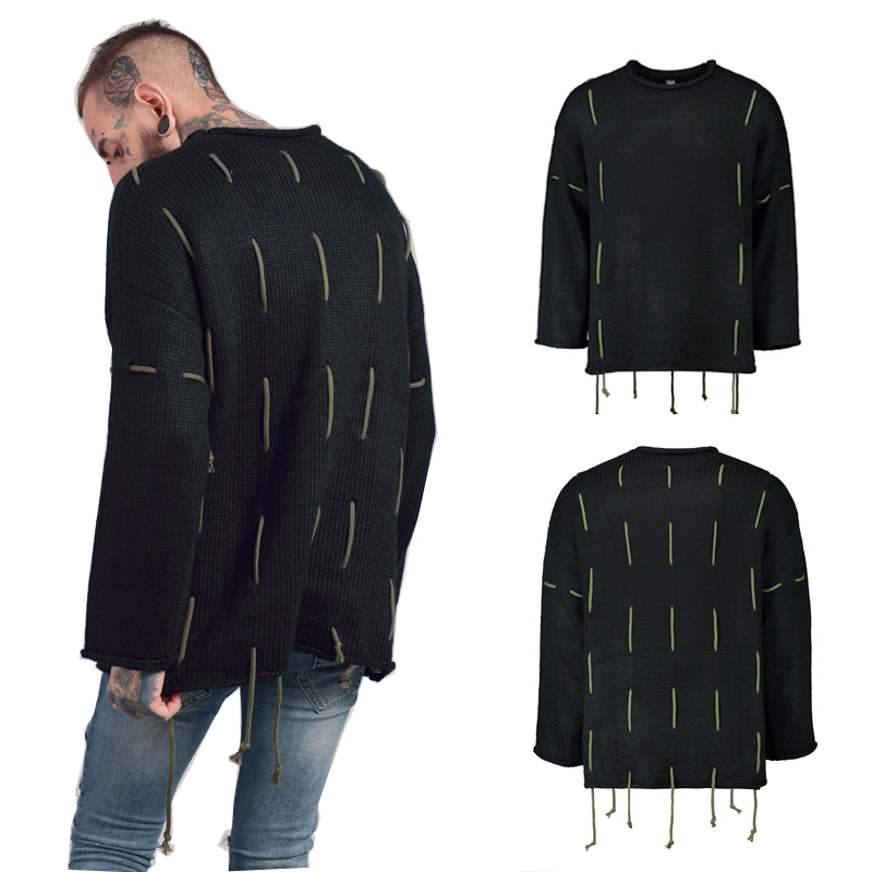 High quality 2017 fashion new design Black and green heavy winter heat preservation sweater mens pullover sweater Casual coat