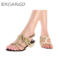 Genuine Leather Low Heeled Butterfly Women Rhinestone Shoes Sexy 2015 New Summer Gold Sandals Bridal Shoes