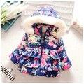 2016 Meninas Casaco de Inverno Quente Bebê Casaco Outerwear Crianças Jaqueta de Roupas de Bebê Flor de Algodão de Manga Longa