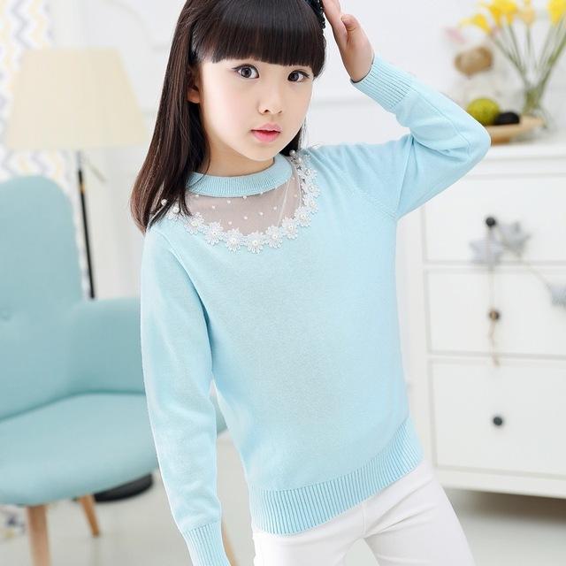 2016 Otoño Y El Invierno Muchacha de Los Cabritos de Corea Knitting Pullover Niños Suéter de Algodón Puro Niños Para Niñas Cardigan Enfant