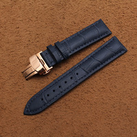 High Quality Dark Blue Watchbands 20mm Watch Band Straps Bracelets Watches Accessories Leather Promotion For Men