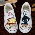 Mano de encargo Pintada Zapatos de Peces Gato Zapatos De Los Amantes Zapatos de Lona Oxford EU35-44