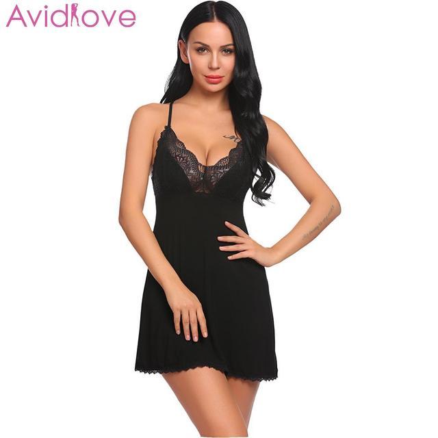 0ca660290 Avidlove Women Night Dress Nighty Sleepwear Lingerie Sexy Women Babydoll  Chemise Lace Patchwork Nightwear with G
