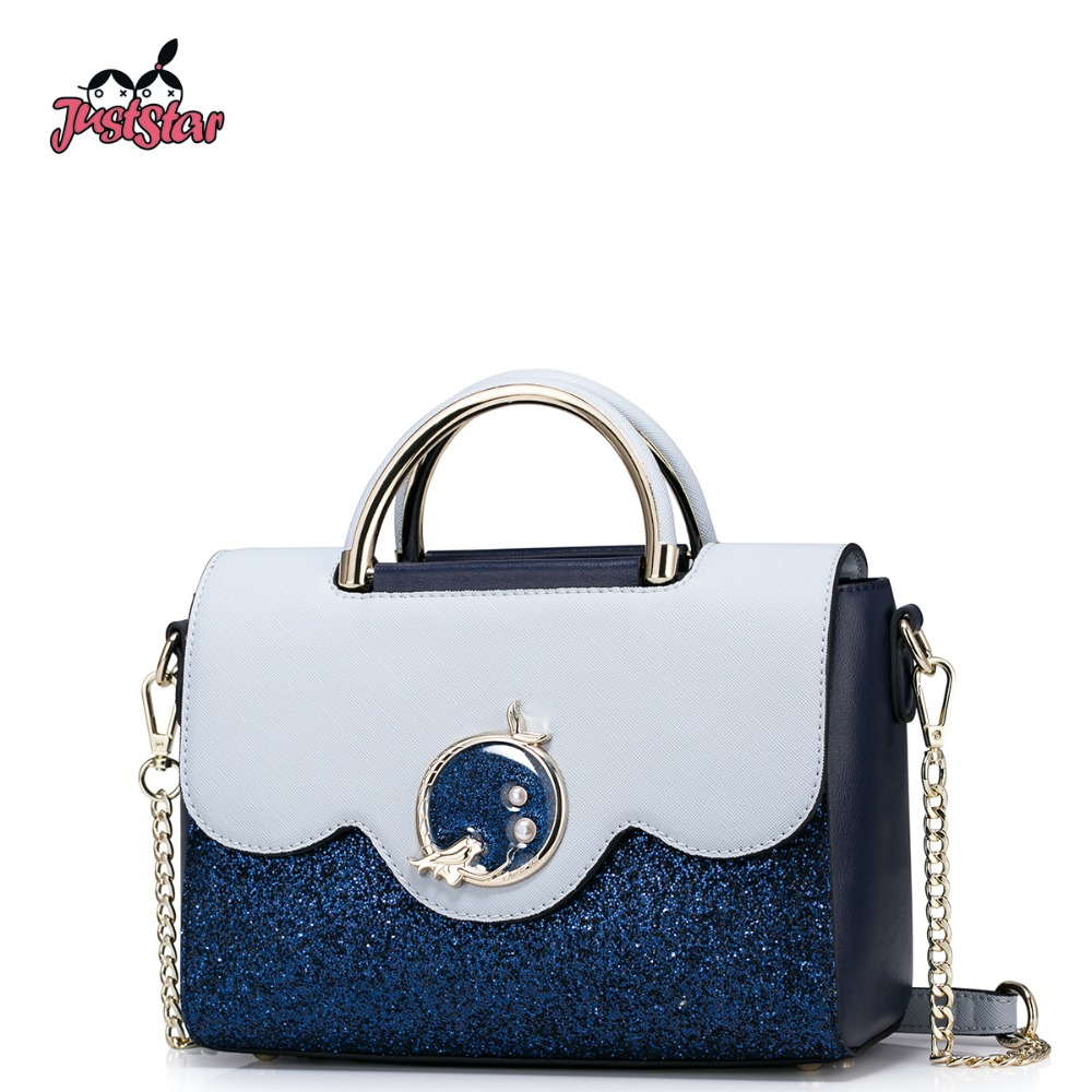 JUST STAR Women's PU Leather Handbag Ladies Fashion Chain Tote Shoulder Purse Female Flap All-match Brand Messenger Bag JZ4372  fashion design bee metal pearl pu leather chain ladies shoulder bag handbag flap purse female crossbody messenger bag 5 colors