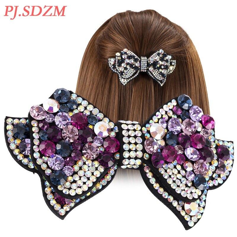 Double Layer Bow Knot Hair Accessories Rhinestone Crystal Fashion Hairclips Chic Hairpins Headwear Barrettes Hair DecorateFG0056