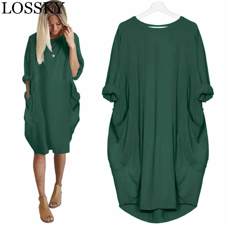 Women Spring Autumn Dress Casual Loose Long Sleeve Pocket Solid Basic Army Green Dresses Crew Neck Dress Plus Size 5XL Vestidos