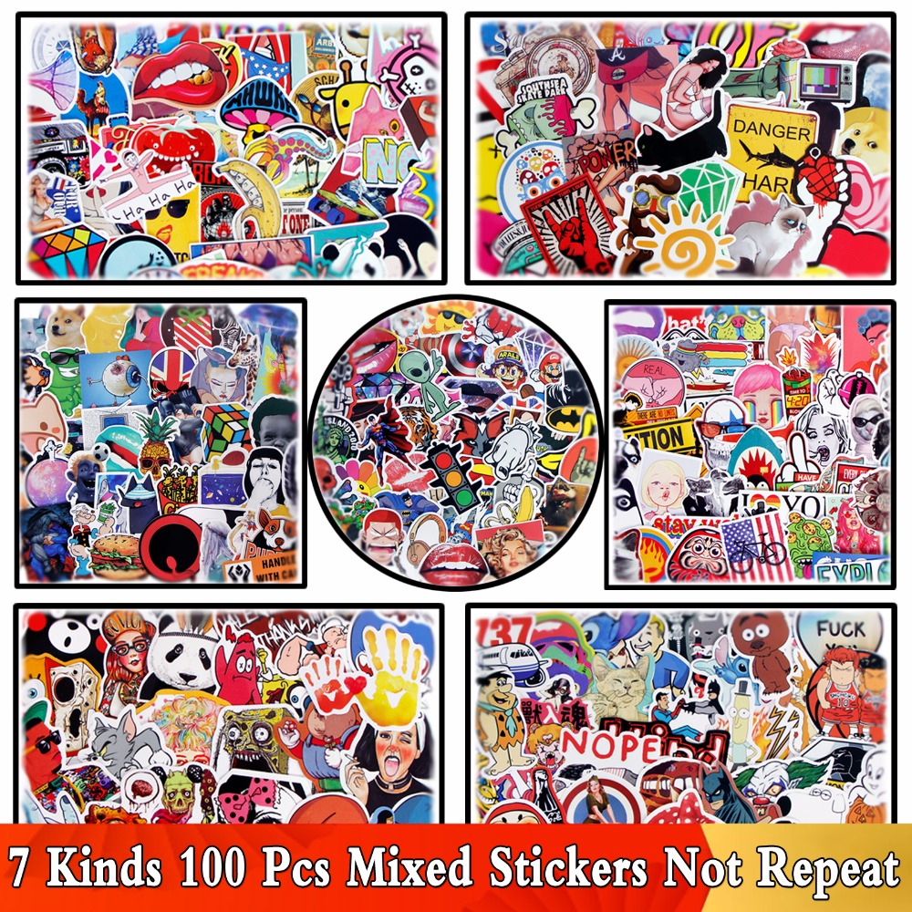 7 Kinds 100 PCS / Lot Waterproof Cool Mixed Sticker Funny Animal For Skateboard Guitar Suitcase Laptop Bicycle DIY Stickers Toy