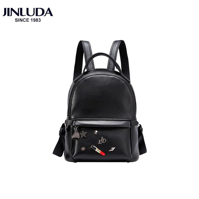 JINLUDA Genuine Leather Backpack Female Version 2018 New Fashion Campus Wind Casual Mini Backpack Black Softback Bag аксессуар защитное стекло sony xperia xa1 ultra solomon full cover white