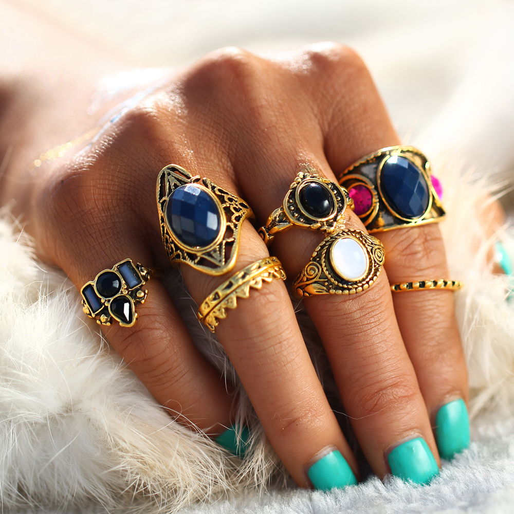 Responsible Lukeni 8 Pcs/lot Punk Tibetan Silver Color Finger Midi Knuckle Ring Sets Sun Elephant Cross Feather Unicorn Cocktail Party Gift To Suit The PeopleS Convenience Engagement Rings